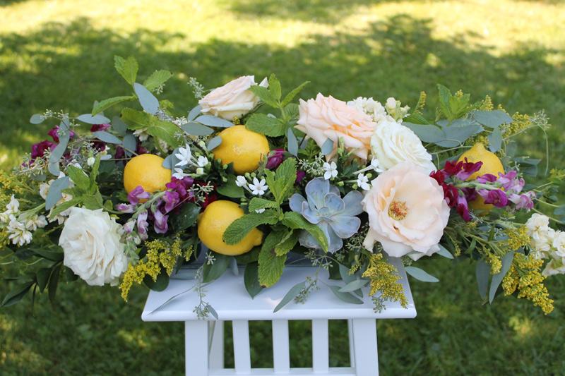 sumer wedding centerpiece lemon yellow
