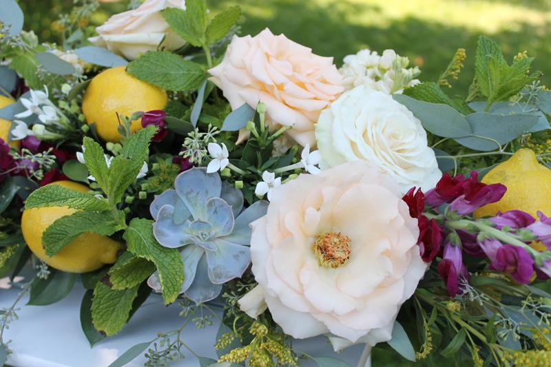 succulent and lemon wedding flowers