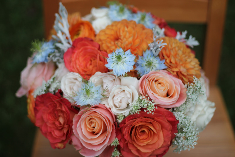 orange peach blush pink blue bride bouquet