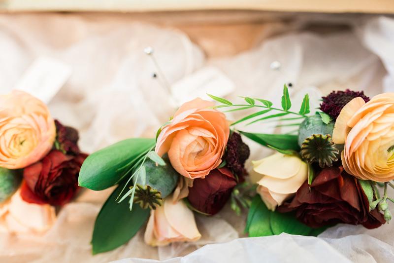 autumn wedding corsages