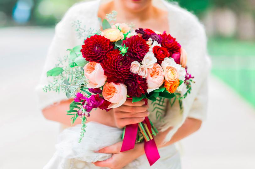autumn bride bouquet in burgundy, peach, blush and orange