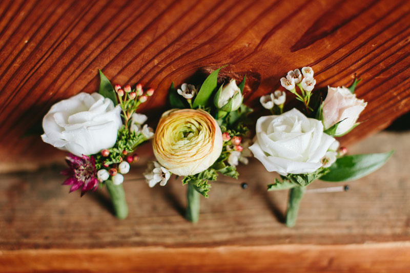 misty farm wedding boutonnieres