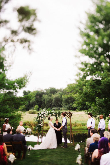 misty farm outdoor wedding ceremony