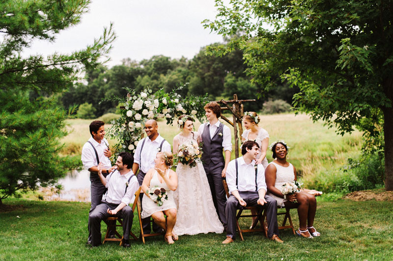 misty farm wedding party outdoor ceremony