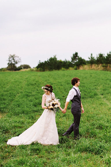 misty farm wedding couple