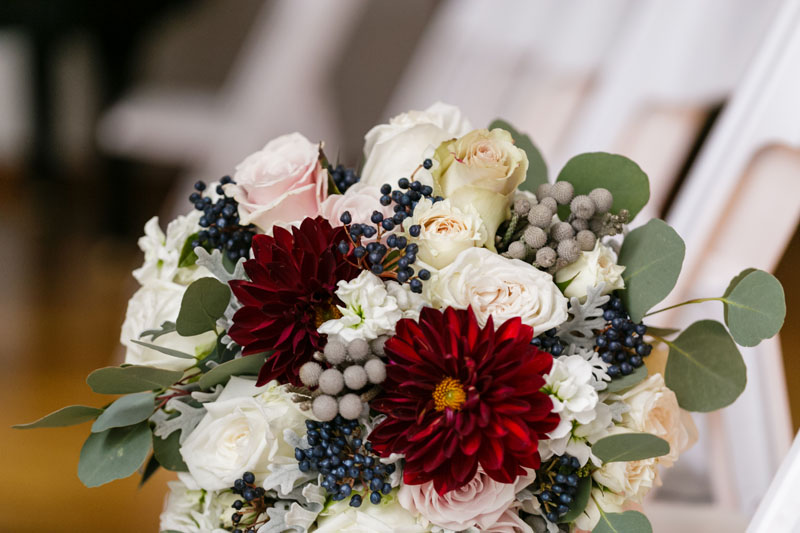 brides flowers in burgundy blush cream and silver