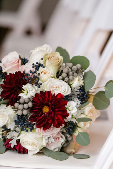 ann arbor winter wedding flowers in burgundy blush and cream