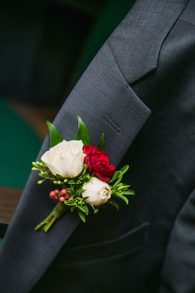 groom boutonniere blush and burgundy