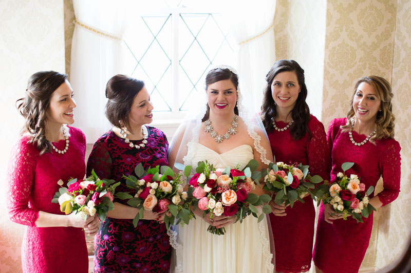 bridal party flowers in burgundy blush and pink