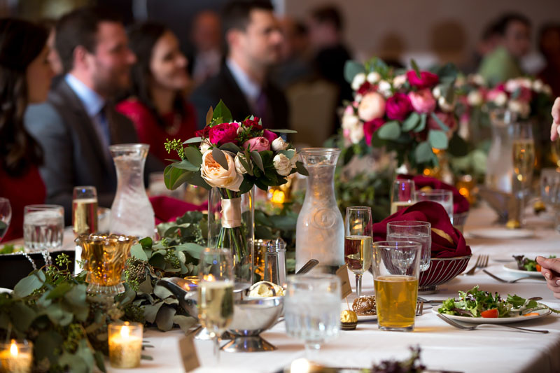 city club wedding reception head table