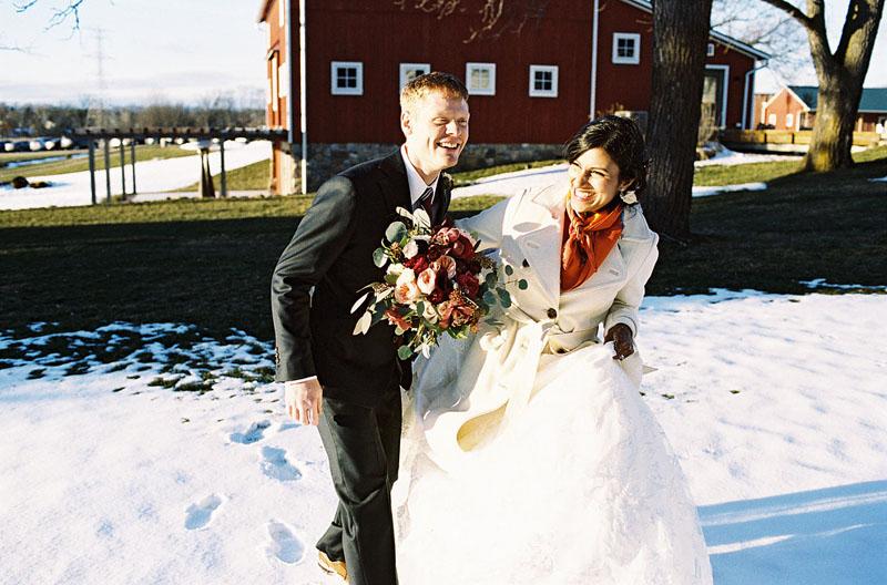 michigan january farm wedding