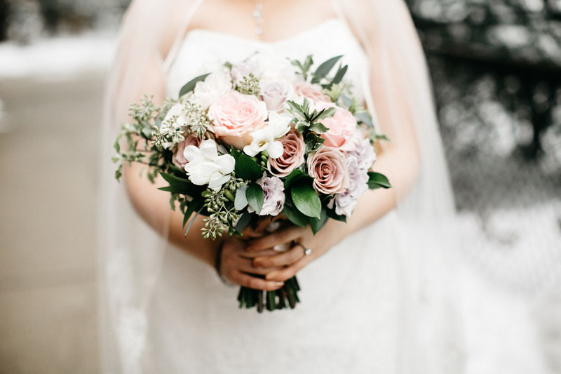 winter wedding flowers in blush pink, mauve purple, white