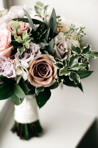 winter wedding bouquet in mauve pink and white