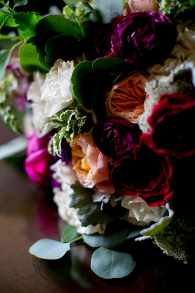 brides bouquet featuring peach juliet garden roses