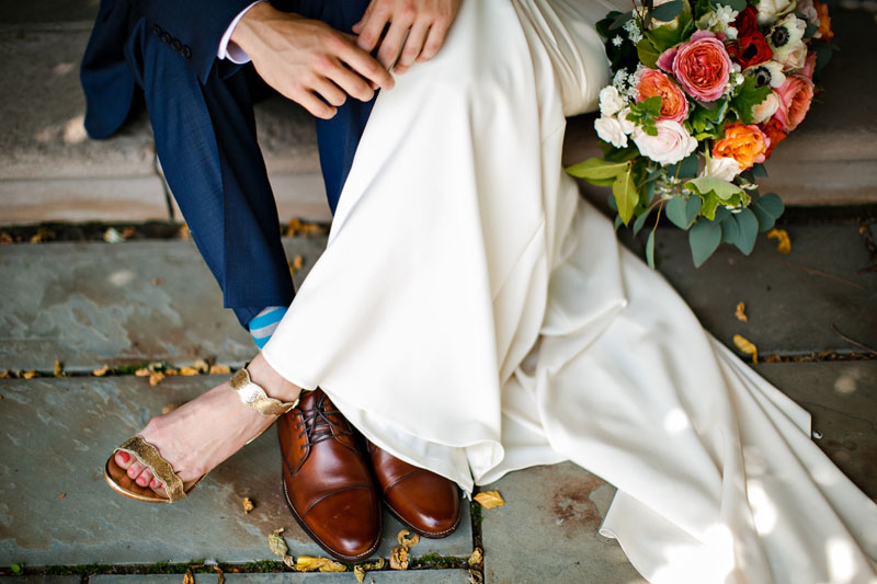 wedding couple gold shoes