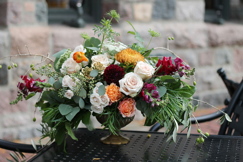autumn wedding flowers at the gandy dancer ann arbor