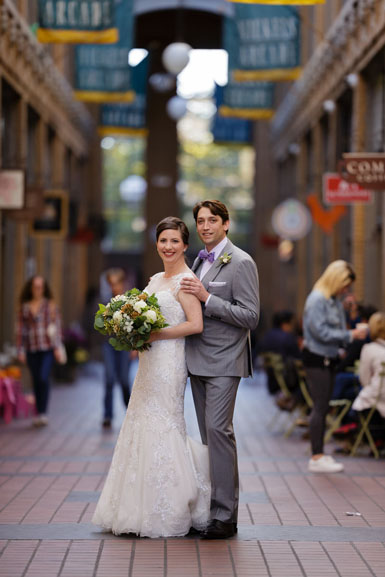 bride and groom in nichols arcade ann arbor