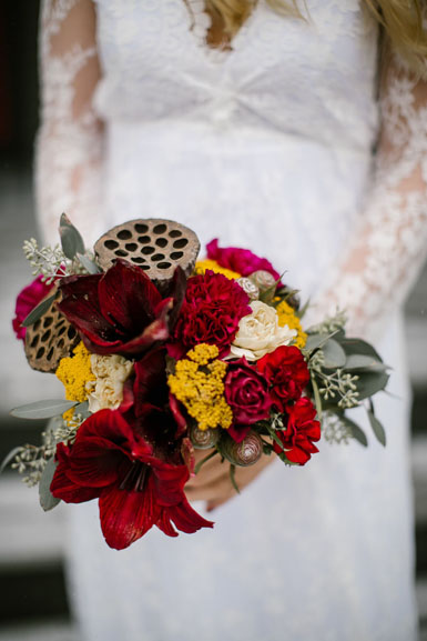 seasonal winter holiday bridal bouquet