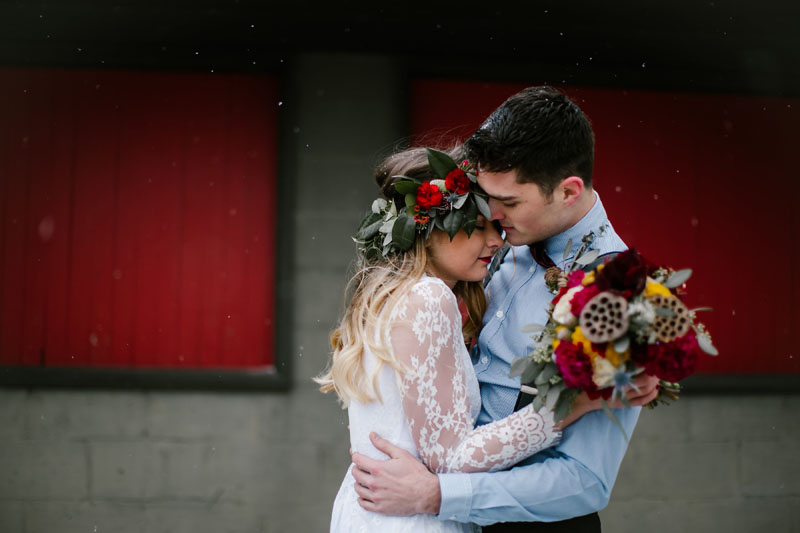 seasonal holiday winter wedding in michigan
