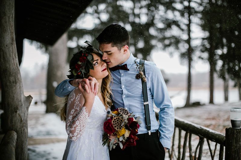 bride and groom outdoor michigan winter wedding