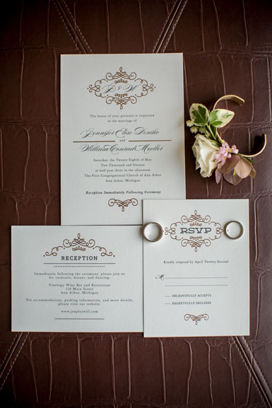 wedding invitations and flowers