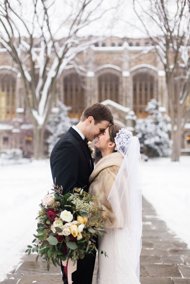ann arbor winter wedding couple snow photos