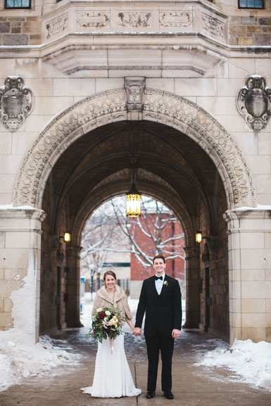 snow photos of campus wedding