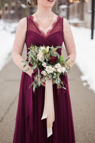 winter bridesmaid bouquet cranberry merlot and blush michigan league wedding