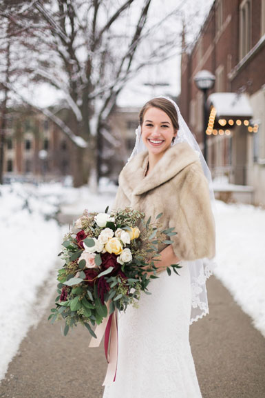 winter bride bouquet in blush and burgundy and merlot