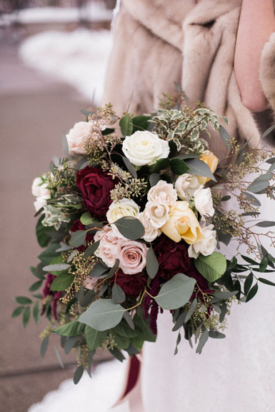 bridal bouquet in blush and burgundy