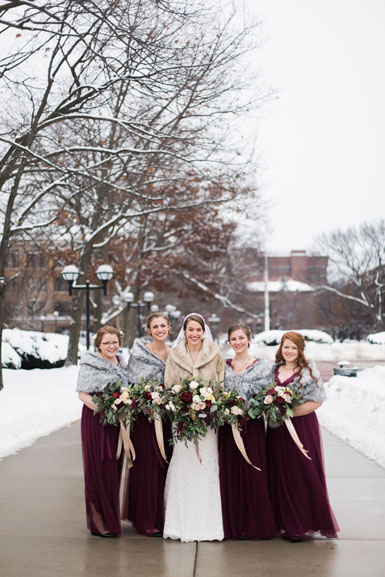 bridal party in burgundy and blush