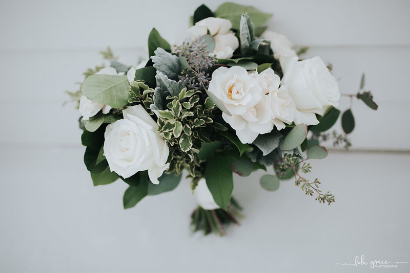 ivory and green natural wedding flowers