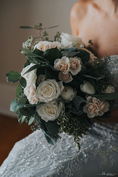 white ivory green bridal bouquet