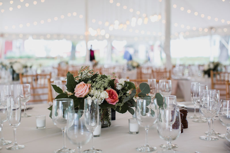 centerpieces at zingerman cornman farms wedding
