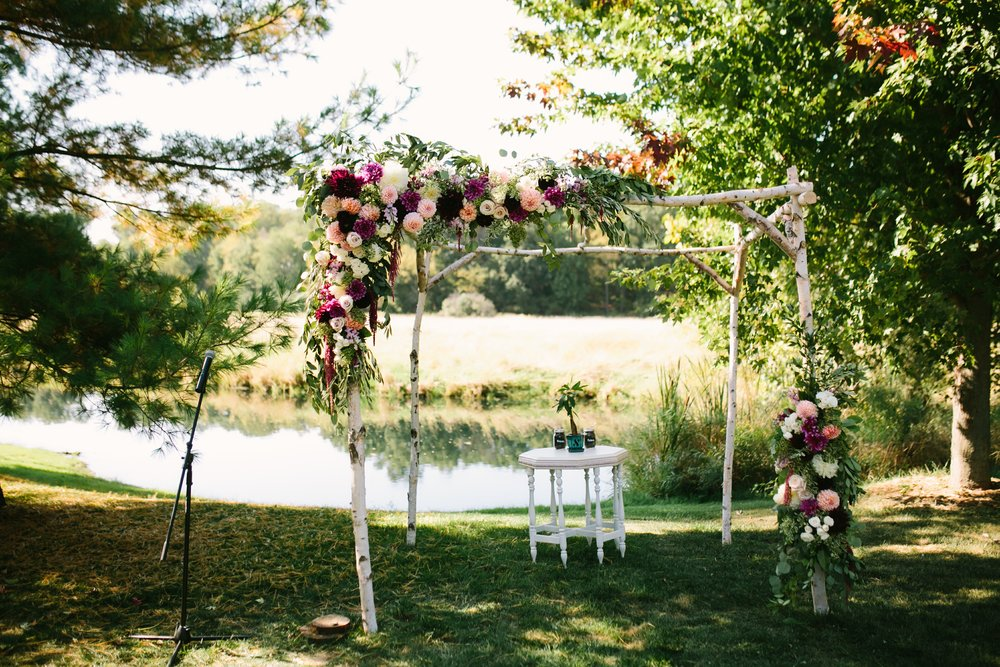 ceremony arch misty farm
