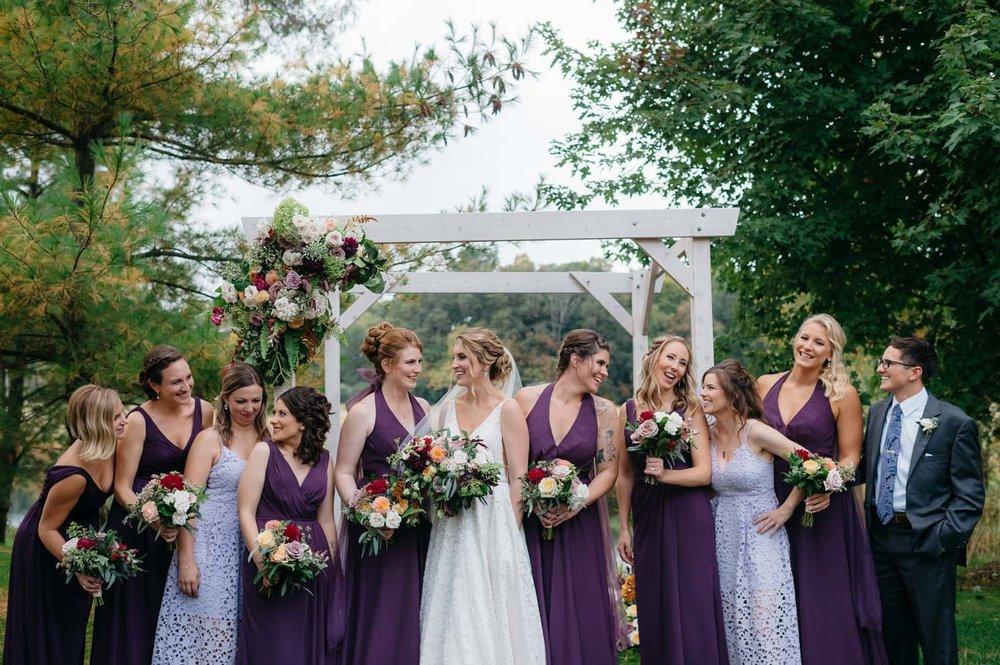 misty farm bridal party