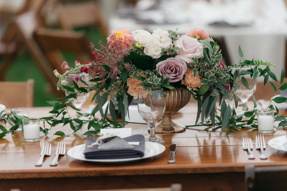 misty farm centerpieces reception