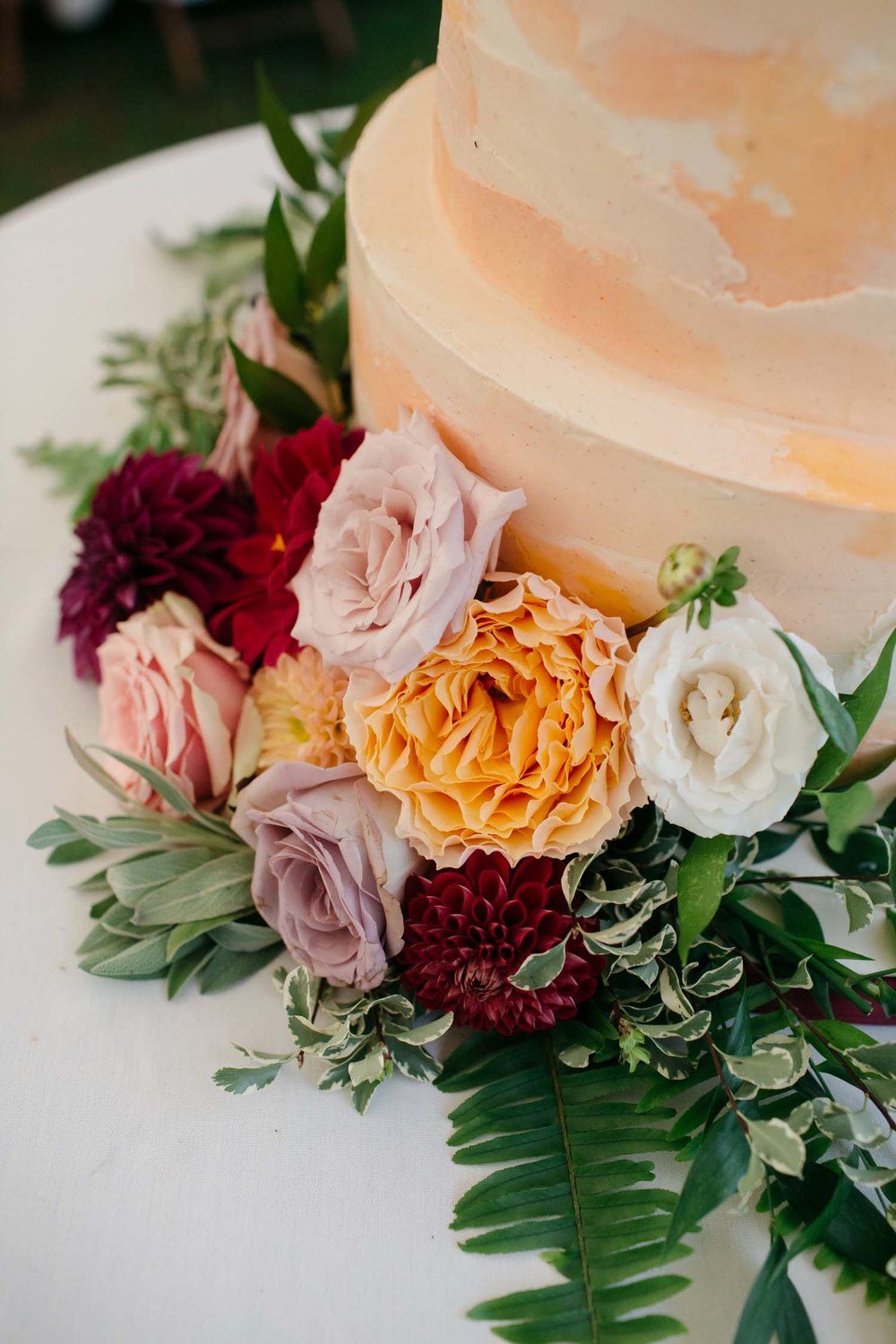 misty farm wedding cake