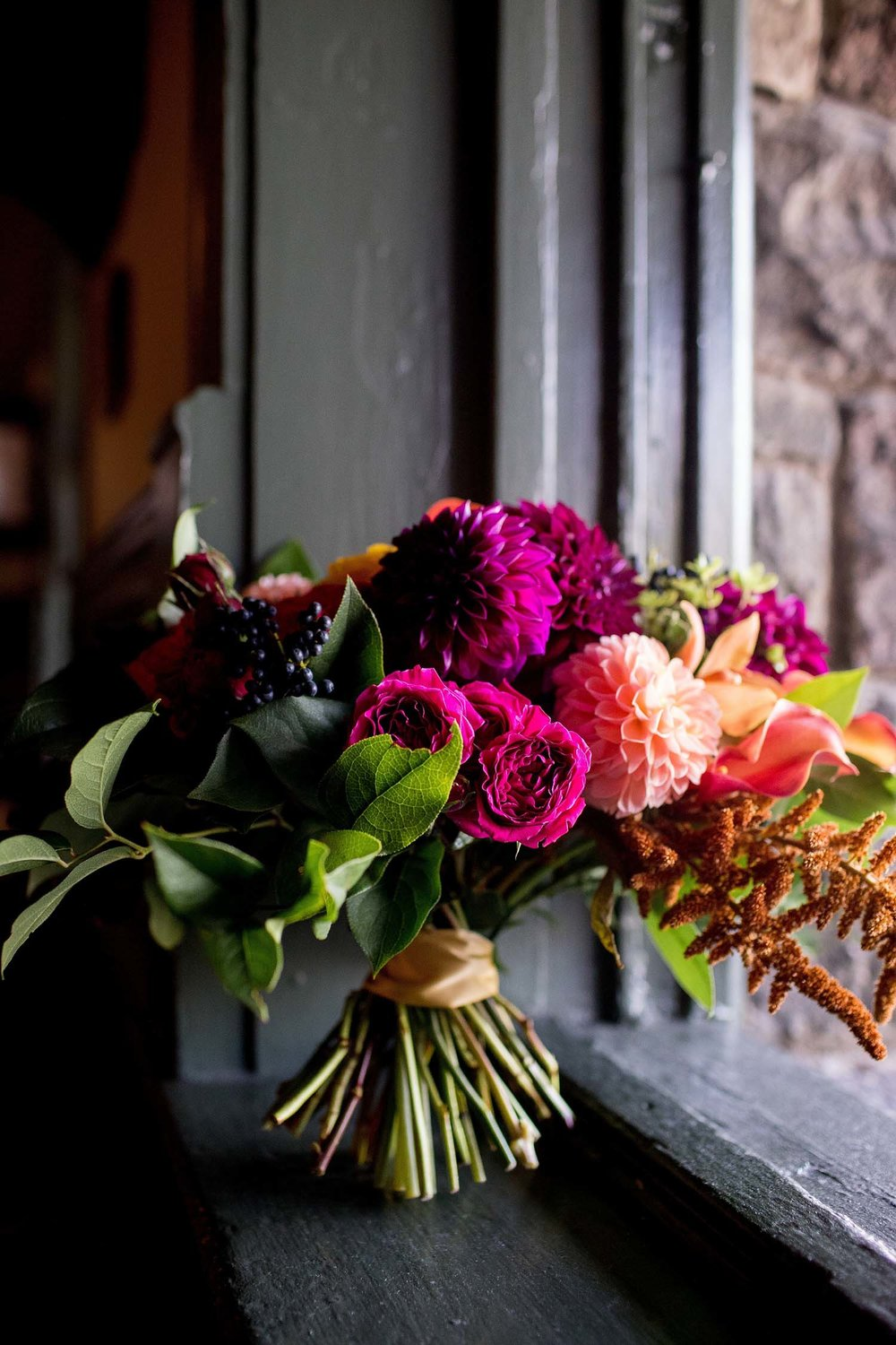 Ann arbor autumn ombre wedding flowers