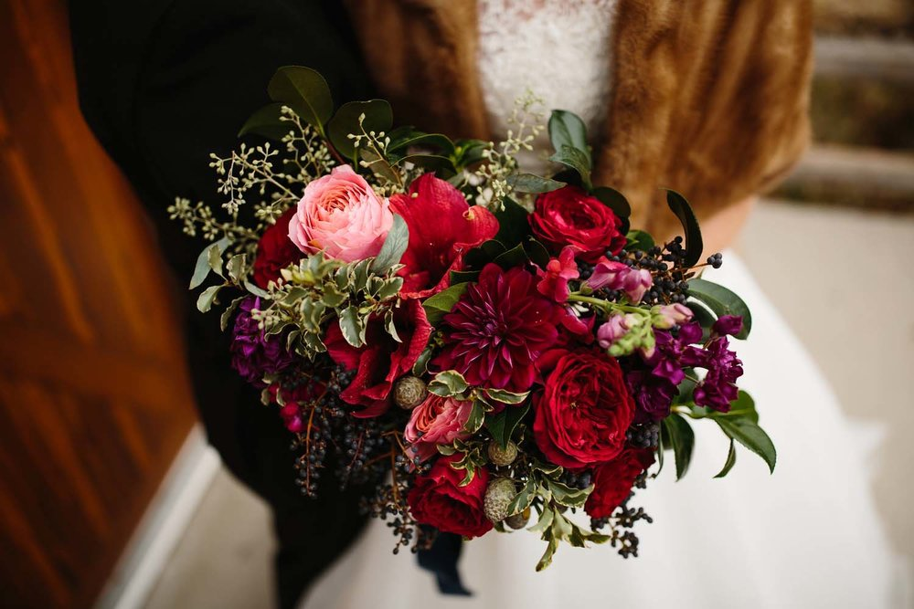 winter cranberry red bride bouquet