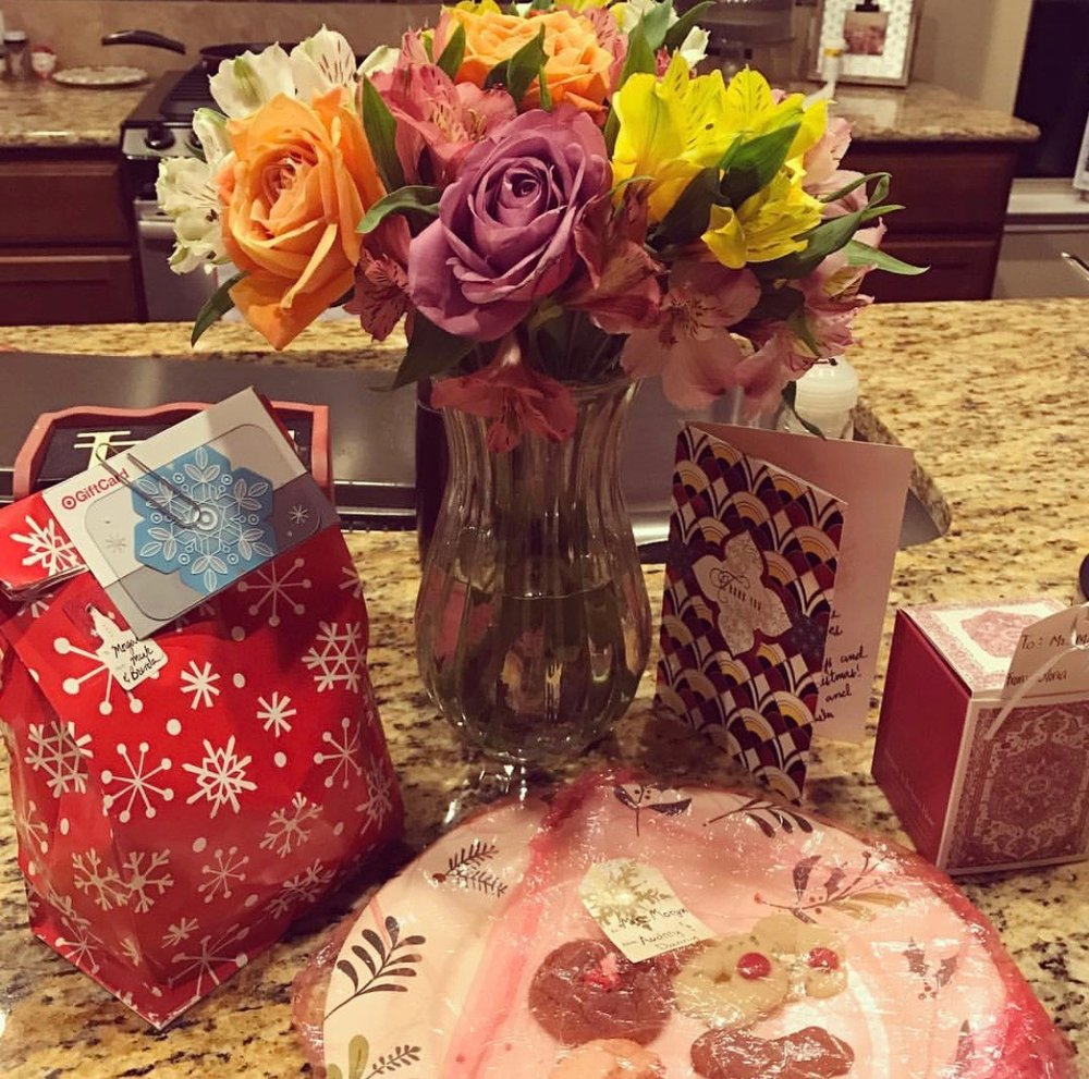 Flowers, sweet treats and handwritten cards from my violin students