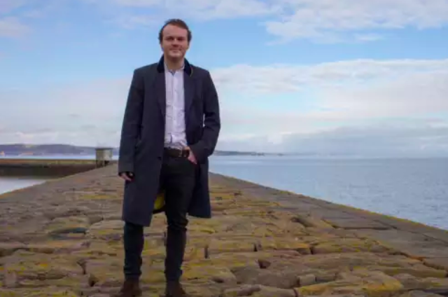 Inventor James Longcroft on Granton Harbour Wall
