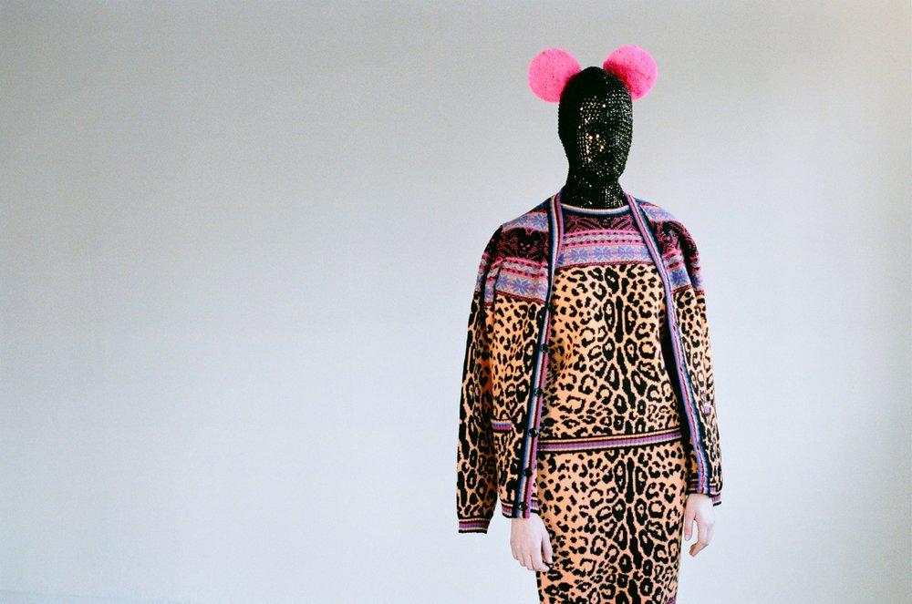 It's a colour carnival: SIBLING'S kanaval mask and fairisle leopard twinset