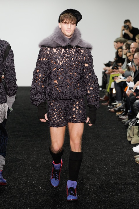The new man: Fur tippets and crocheted rugby socks at SIBLING (AW14)