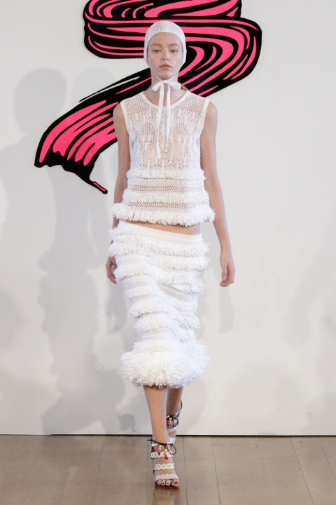 Crocheted skull vest and delicate fringed skirt at Sister by SIBLING (SS13)