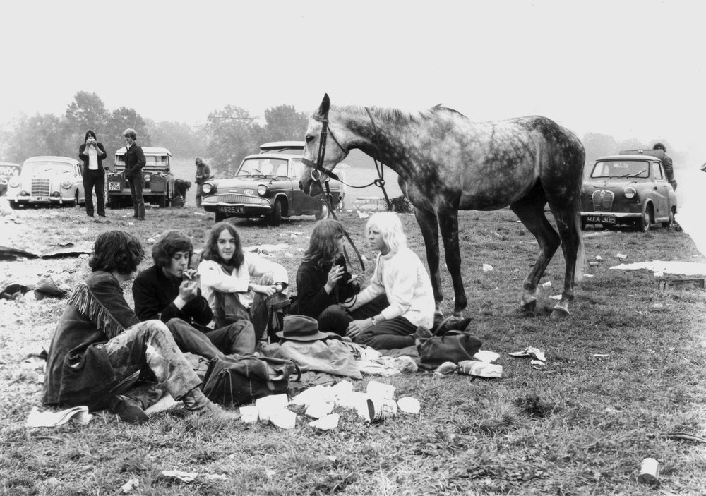 Hippies and their horse at the first festival, 1970 © Glastonbury Festival. Photography Brian Walker.