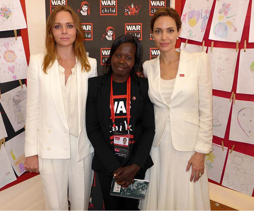 Angelina Jolie joined Stella McCartney and Polline for the launch of War Child UK's Draw Me to Safety art project