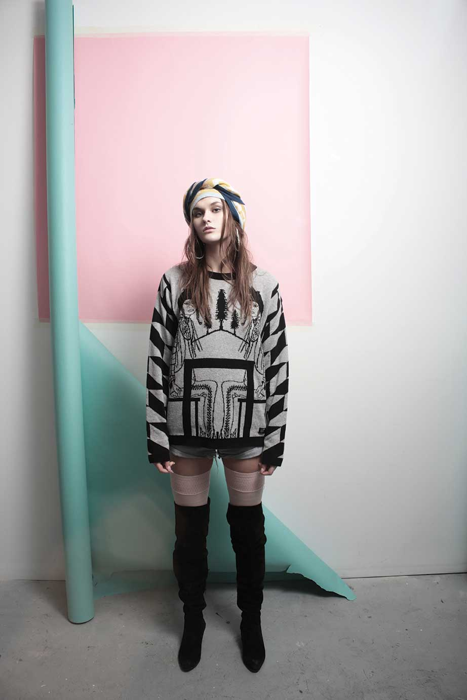 'The Poconos' sweatshirt,  'Ephemera' triangle scarf, by Electronic Sheep