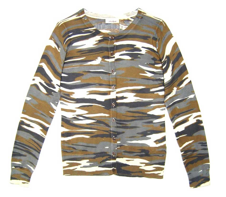 Camouflage cardigan, £72, Jackpot. www.fashion-conscience.com