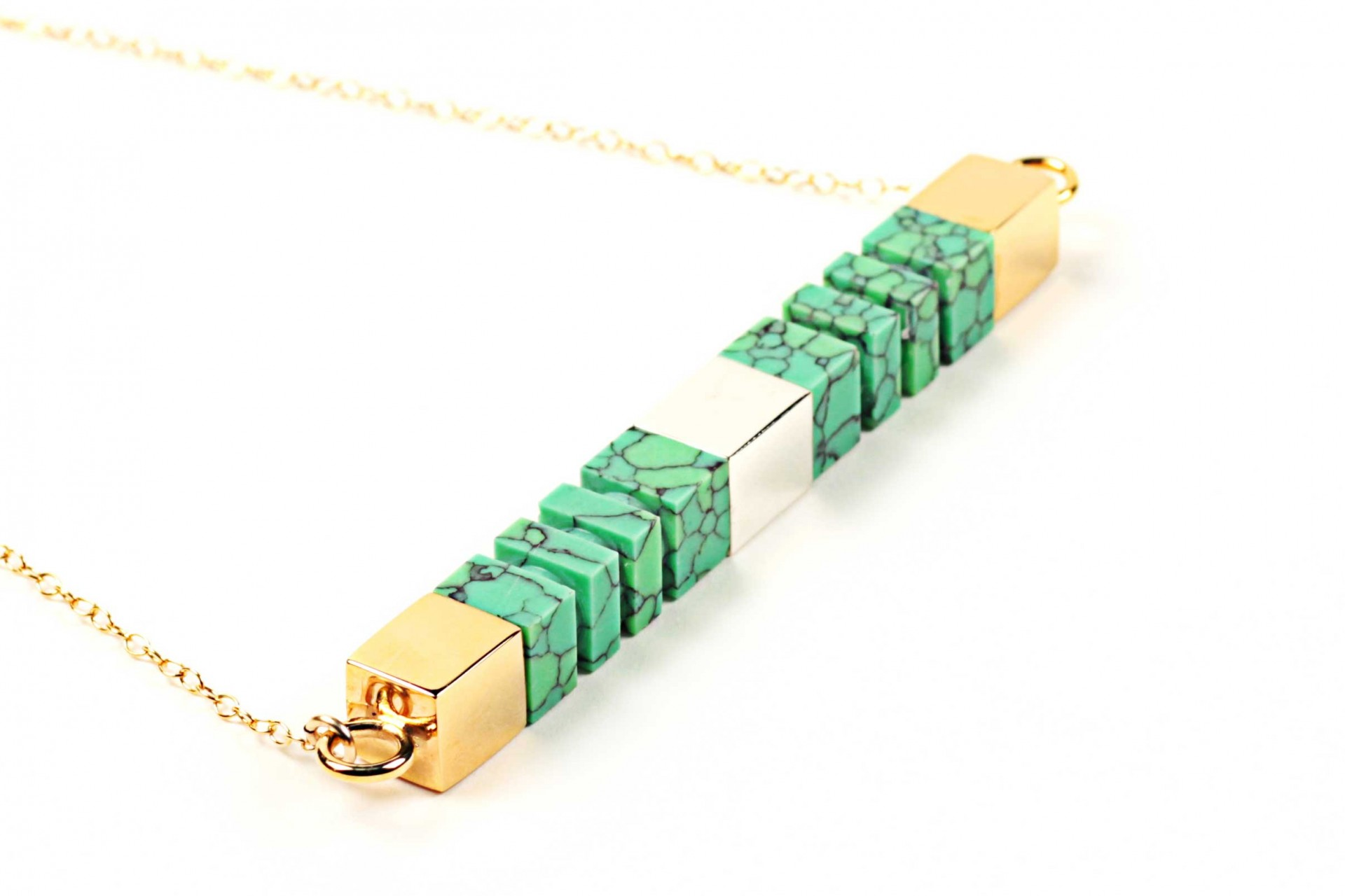 Green Orion Side Column Necklace, £375, Lily Kamper. www.liberty.co.uk